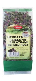 Herbata zielona z płatkami dzikiej róży 200g liść